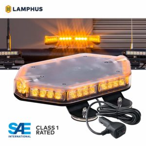 "LAMPHUS NanoFlare NFMB40 12"" 40W LED Mini Light Bar [SAE Class 1] [72 Flash Patterns] [12ft Cord] [Magnet or Permanent] Emergency Strobe Hazard Warning Light - Amber"