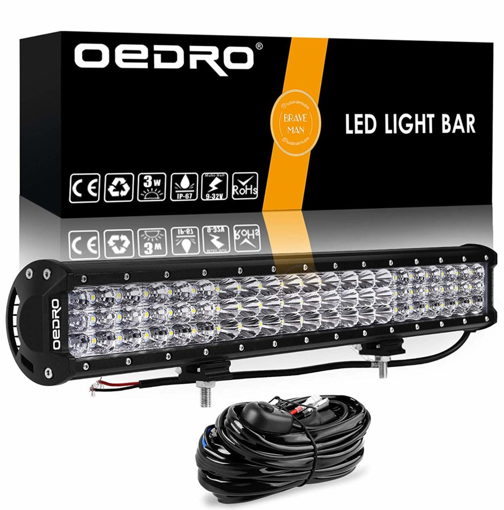 LED Light Bar Wiring Harness OEDRO 300W 20Inch Tri-Rows LED Light Pod Spot Flood Combo Light Off Road Lights Led Fog Light Truck Light Boat Lighting for Truck Pickup Jeep SUV ATV UTV,3 Years Warranty