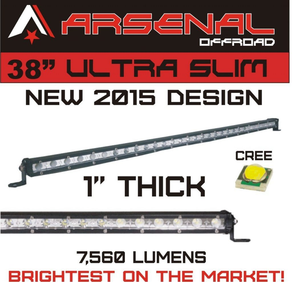 Arsenal Offroad Ultra Slim 1-Inch Single-Row CREE LED Light Bar with Spot Flood Combo Beam