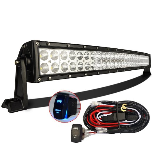 best 32 inch led light bar reviews lightbarreport com mictuning 32 inch 180w curved cree led light bar 12 foot wiring kit