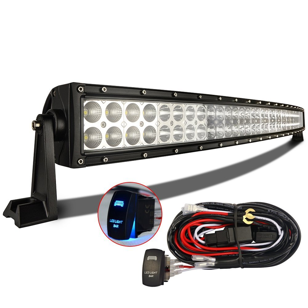 Best 42 inch led light bar reviews lightbarreport mictuning 42 inch curved cree led light bar combo beam with complete wiring kit aloadofball Images
