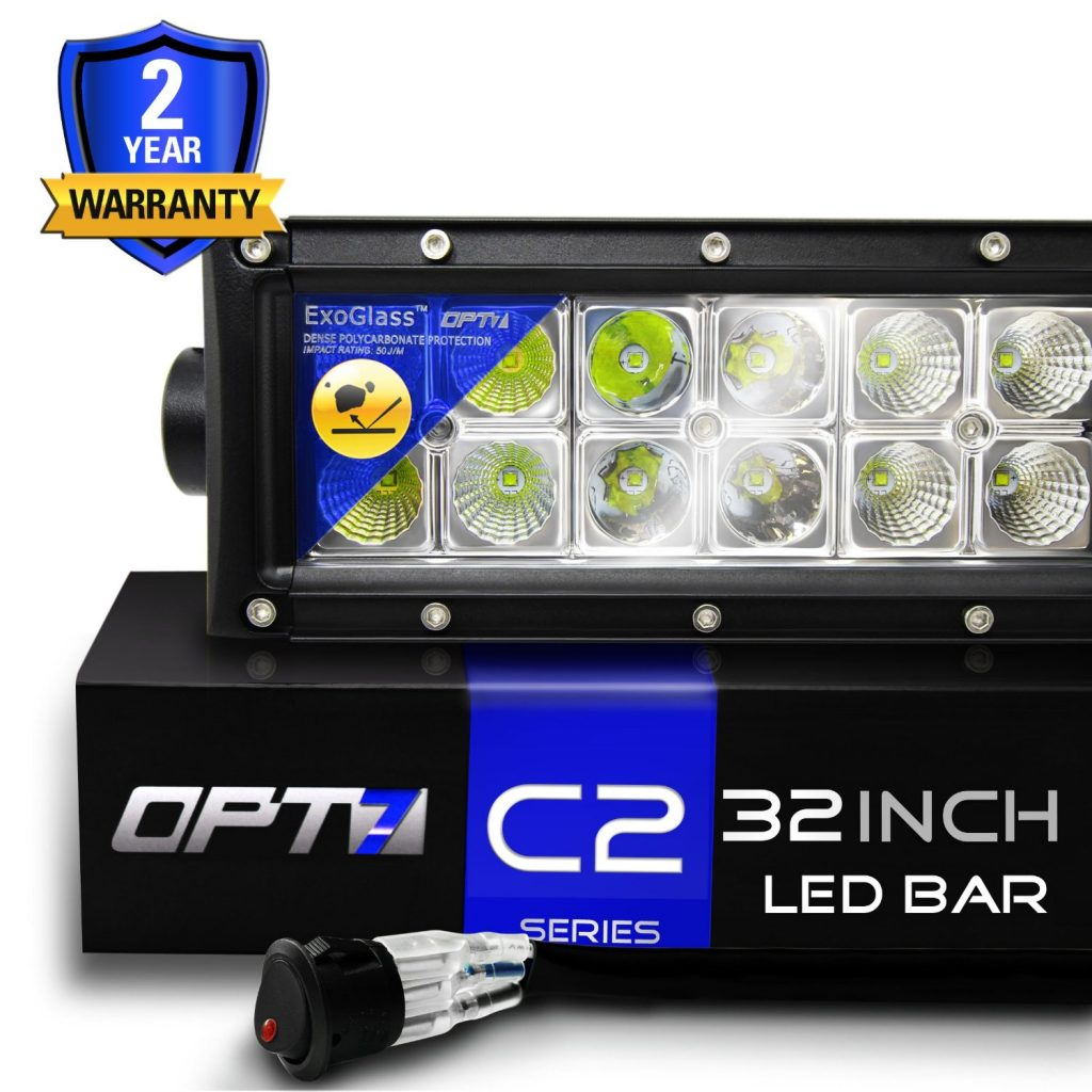 best 32 inch led light bar reviews lightbarreport com opt7 c2 series 32 inch off road cree led light bar floodspot beam