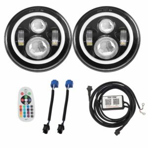 SUNPIE LED Headlights with Rotating RGB Halo
