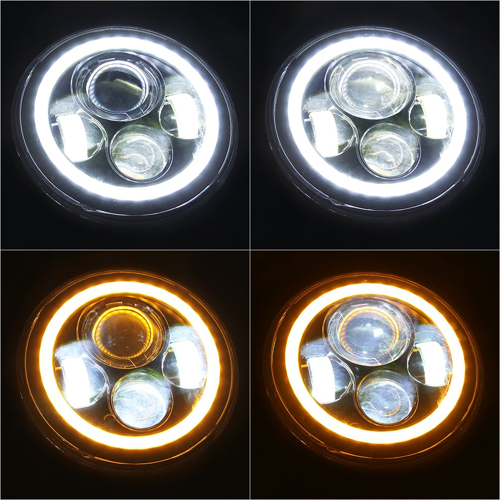 SUNPIE 7-Inch Jeep LED Headlights with White Halo
