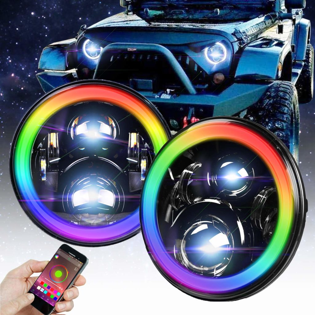 Omotor 7-Inch Jeep Wrangler RGB Halo LED Headlights Bluetooth Enabled