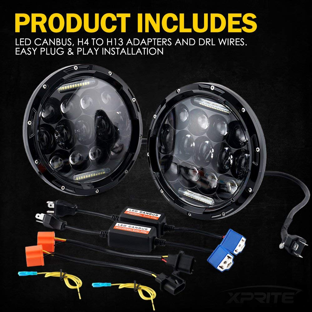 Xprite 7-Inch 150W CREE LED Headlight Kit With DRL and Turn Signals