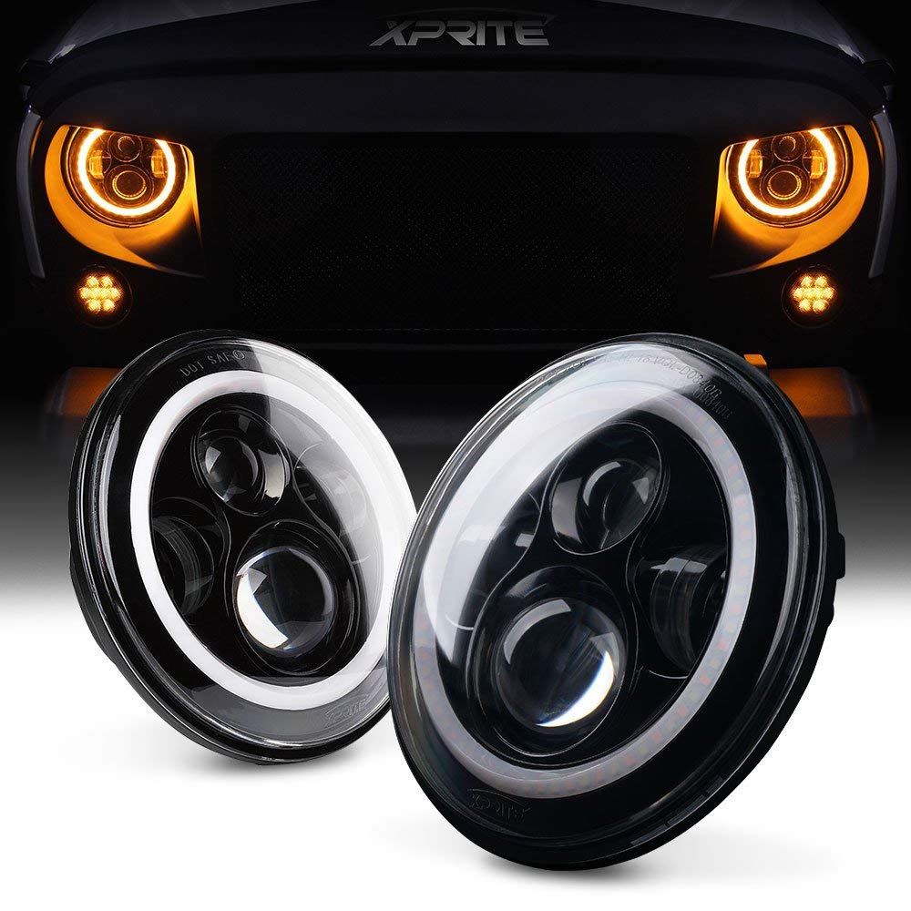 "Xprite 7"" Inch LED Halo Headlights With DRL/Turn Signals"