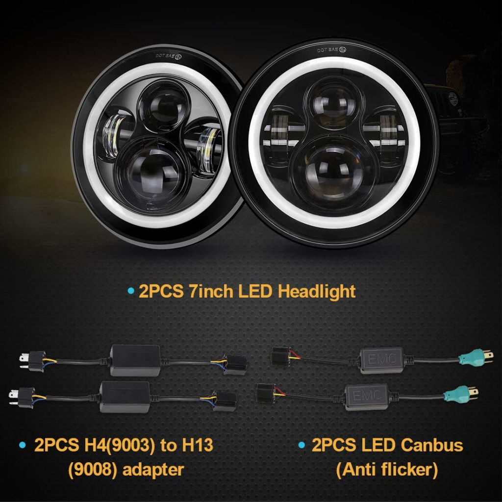 SUPAREE Cree LED Headlights with Halo Ring Angel Eye DRLs and Turn Signals