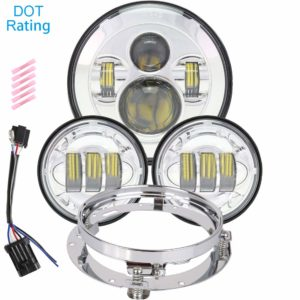 7-Inch LED Headlight Plus Fog/Passing Light Set for Harley Davidson Touring Bikes