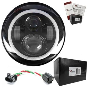Eagle Lights 7-Inch LED Headlight with Halo Ring for Harley Davidson and Other Motorcycles