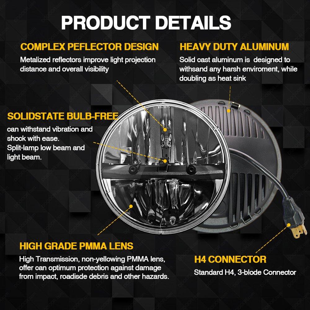 Uni-Light J004 6000K High/Low Beam Sealed LED Round Motorcycle Headlight for Harley Davidson