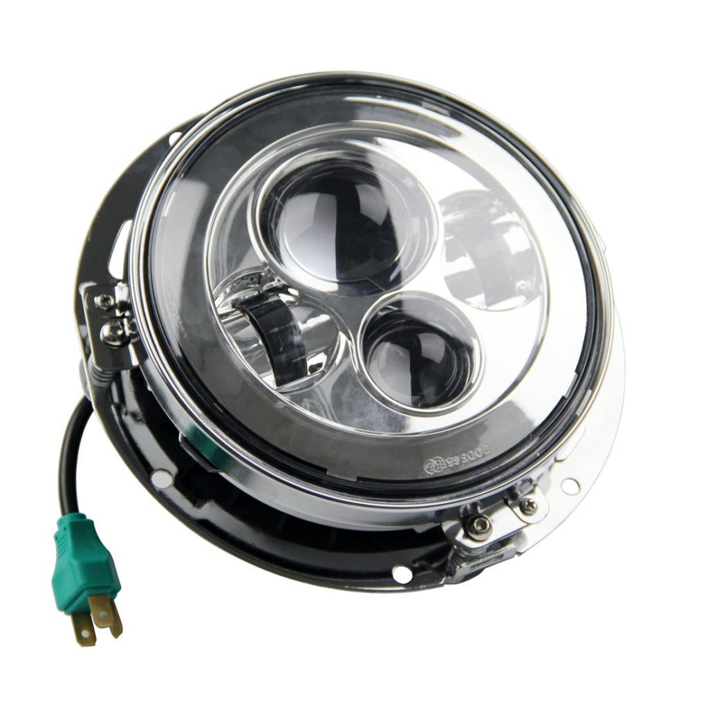 SKTYANTS 7-Inch round Harley Davidson LED Headlight With Chrome Ring Support