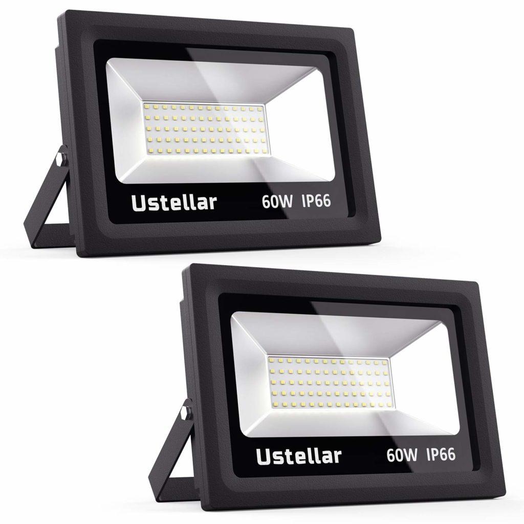 Ustellar 2 Pack 60W LED Flood Light, IP66 Waterproof, 4800lm, 300W Halogen Bulb Equivalent Outdoor Super Bright Security Lights, 5000K Daylight White, Floodlight Landscape Wall Lights