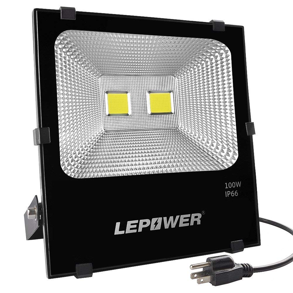 LEPOWER New Craft 100W LED Flood Lights, Super Bright Outdoor Work Light, 500W Halogen Bulb Equivalent, IP66 Waterproof, 8000lm, 6500K, White Light,Floodlight (100W White Light)