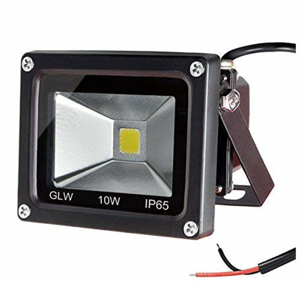 GLW 10w 12v Ac or Dc Warm White Led Flood Light Waterproof Outdoor Lights 750lm 80w Halogen Bulb Equivalent Black Case