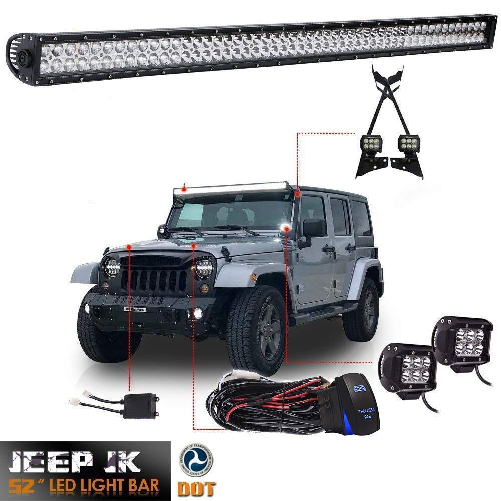 "DOT 52Inch LED Light Bar Offroad Led Work Lights + 2PC 4"" Pods Cube Fog Lights + Upper Roof Windshield Lower Corner A-pillar Hinge Mounting Brackets For 2007-2017 Jeep Wrangler JK Unlimited Sahara JKU"