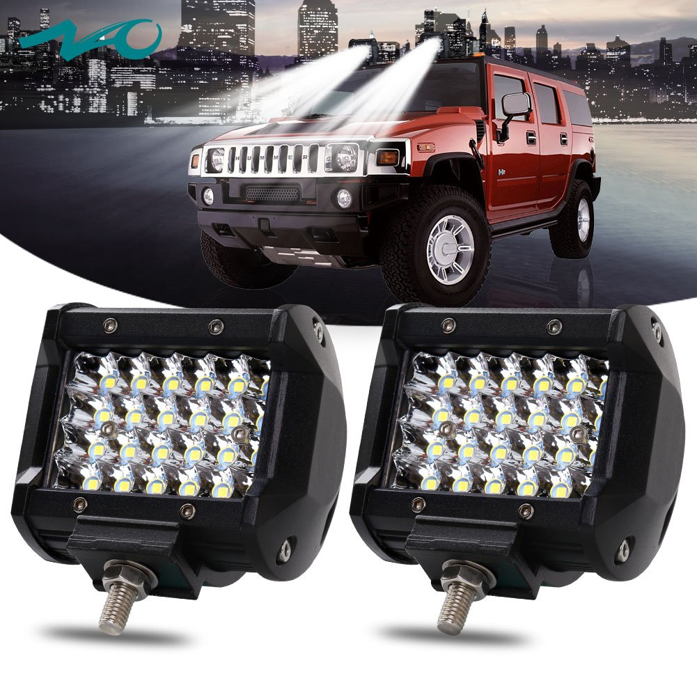 NAO 2PCS 4'' 144W LED Pods LED Light Bar Work Light Spot Beam Driving Lights Quad Row Off road Fog Lamps for Truck Jeep ATV UTV SUV Boat Marine,12-month Warranty