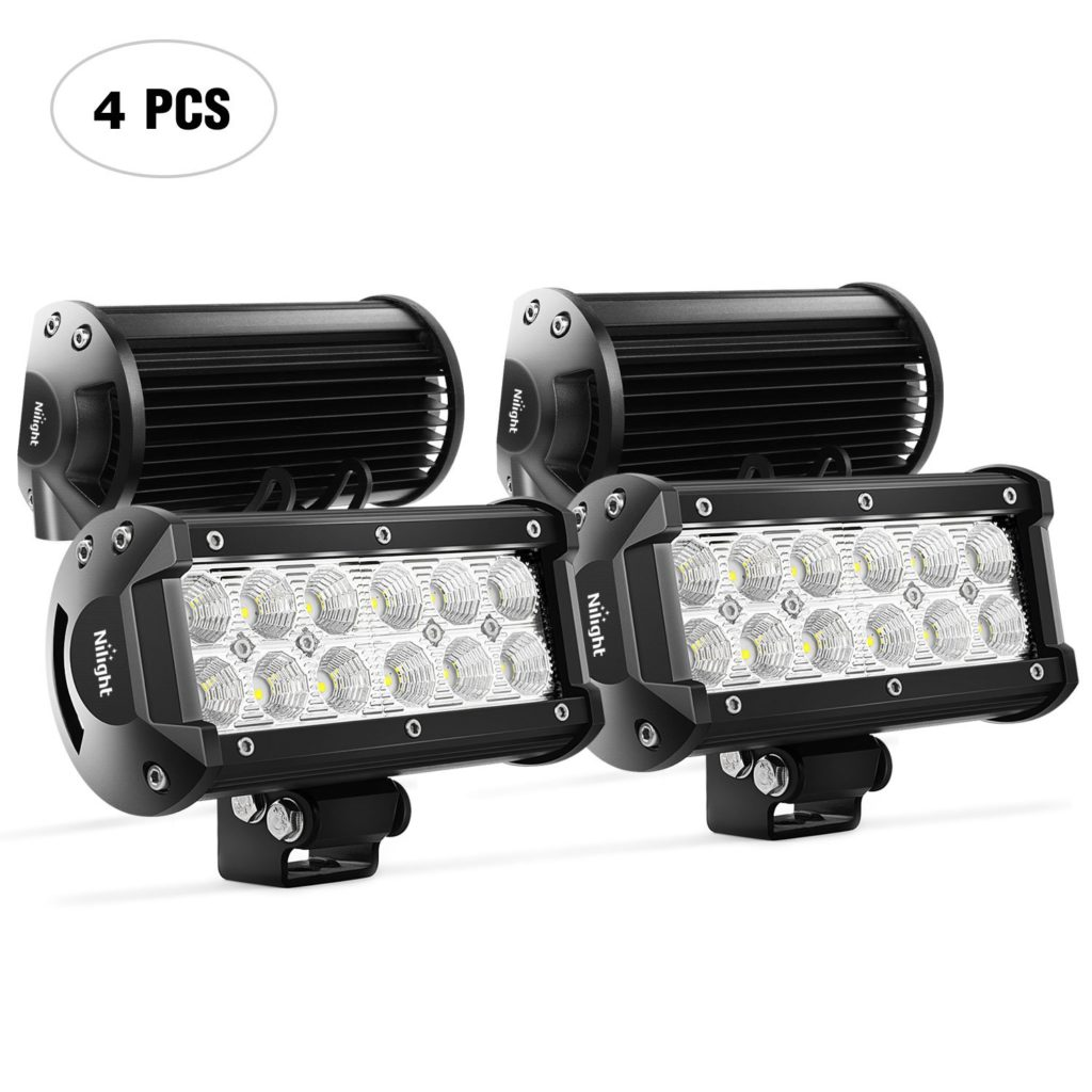 Nilight LED Light Bar 4PCS 6.5Inch 36w Flood LED Work Light Off Road lights led bar Super Bright for Jeep Cabin Boat SUV Truck Car ATVs,2 Years Warranty