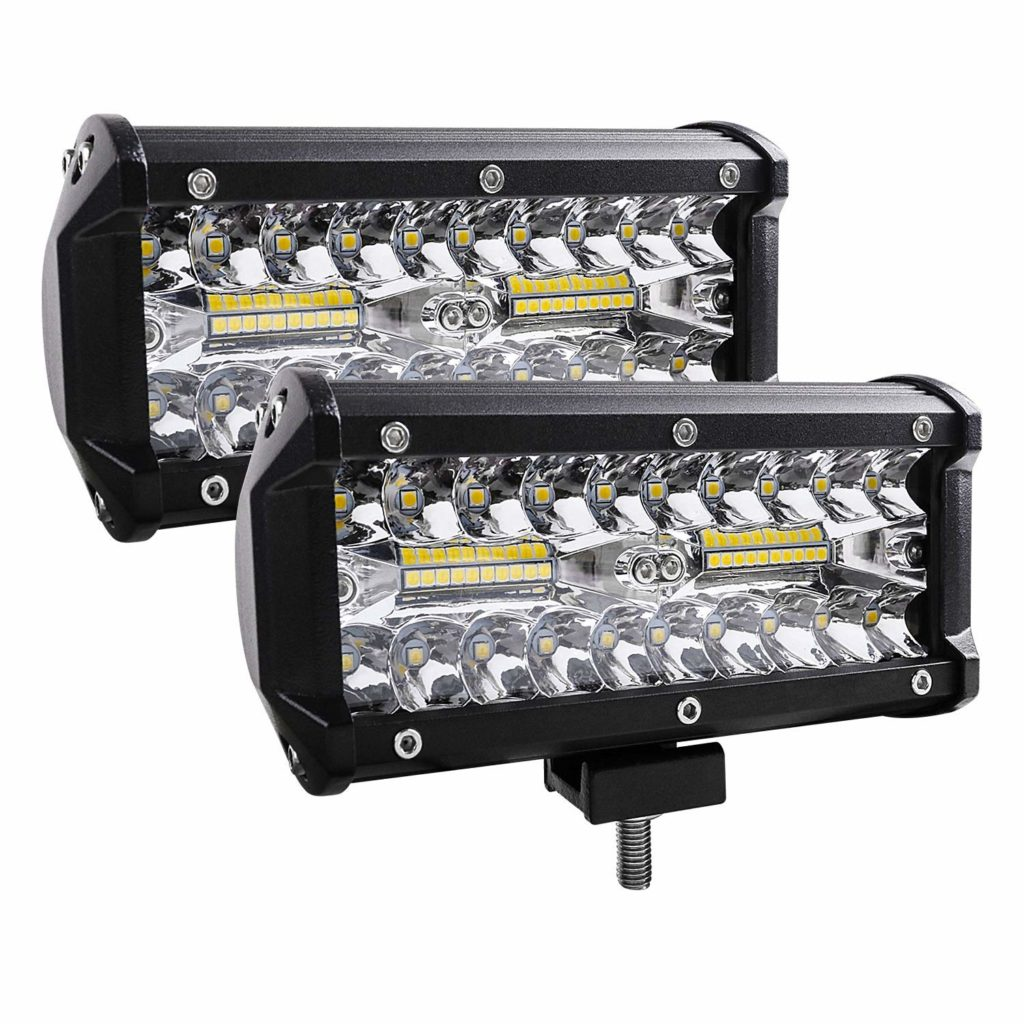 Led Light Bar, 2Pcs 240W 24000lm [ Aluminum Alloy Die-casting Shell ] Led Spotlight Off Road Lights Super Bright Flood Driving Light for SUV Jeep Boat (240 W)